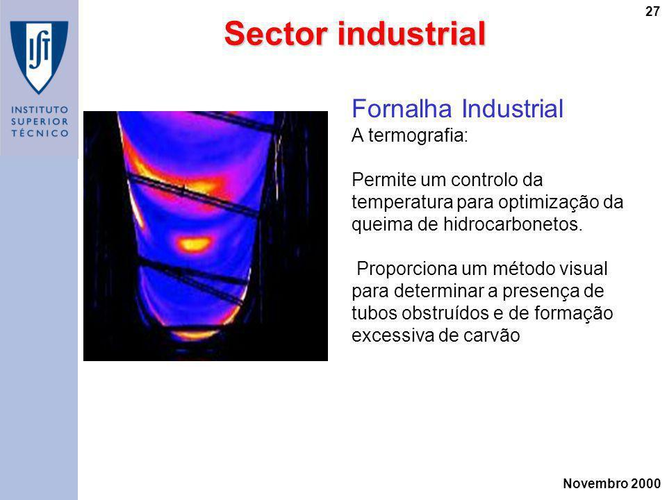 Novembro 2000 27 Sector industrial Fornalha Industrial A termografia: Permite um controlo da temperatura para optimização da queima de hidrocarbonetos