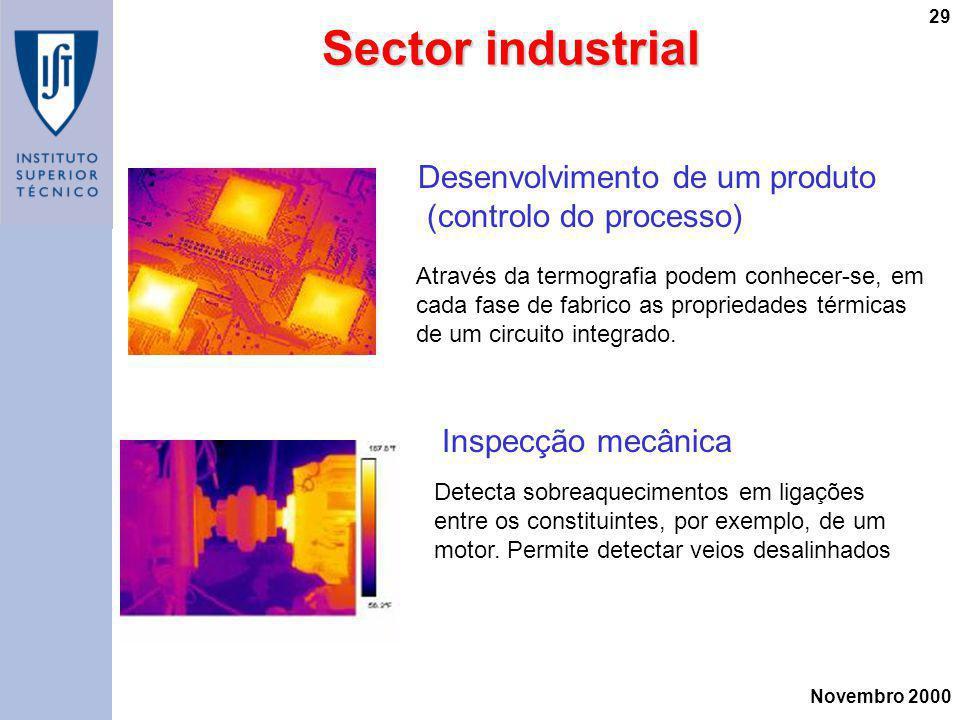 Novembro 2000 29 Desenvolvimento de um produto (controlo do processo) Através da termografia podem conhecer-se, em cada fase de fabrico as propriedade