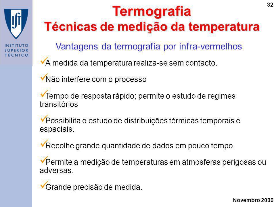 Novembro 2000 32Termografia Técnicas de medição da temperatura Vantagens da termografia por infra-vermelhos A medida da temperatura realiza-se sem con