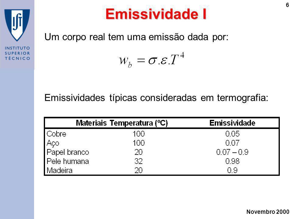 Novembro 2000 6 Emissividade I Um corpo real tem uma emissão dada por: Emissividades típicas consideradas em termografia: