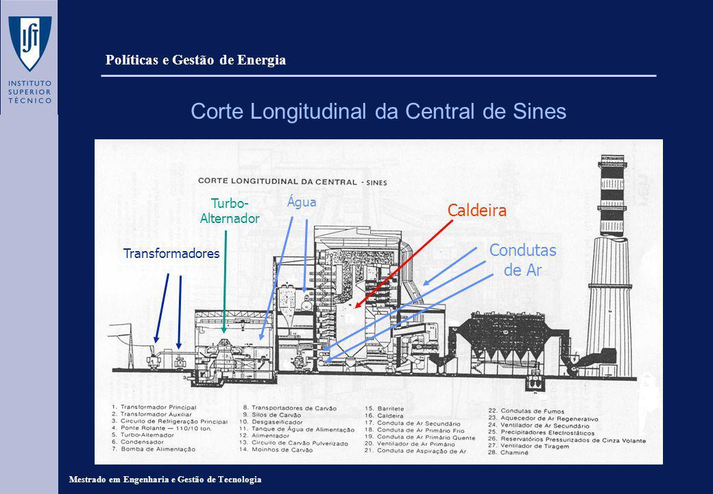Mestrado em Engenharia e Gestão de Tecnologia Corte Longitudinal da Central de Sines Caldeira Condutas de Ar Transformadores Turbo- Alternador Água Políticas e Gestão de Energia
