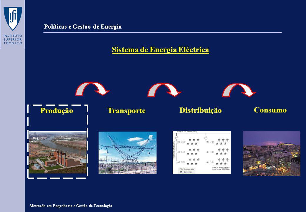 Mestrado em Engenharia e Gestão de Tecnologia Políticas e Gestão de Energia Produção de Energia Eléctrica Nas centrais eléctricas converte-se energia mecânica em energia eléctrica; a energia mecânica é obtida, também na central, a partir de: - Energia química dos combustíveis (térmicas clássicas); - Energia do núcleo dos átomos (térmicas nucleares); - Energia da água em movimento (hidroeléctricas).