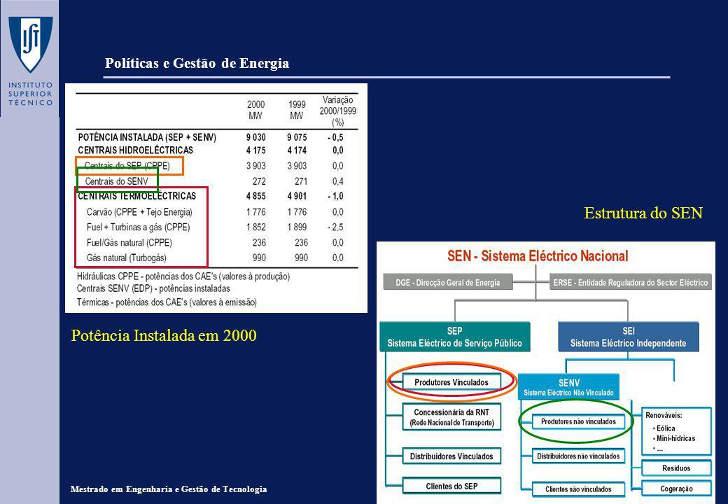 Mestrado em Engenharia e Gestão de Tecnologia Políticas e Gestão de Energia Central de Tunes: - Localização: Silves - Ano de Entrada em Serviço: 1973 - Combustível: Gasóleo - Potência Instalada Contratual: 197 MW CPPE