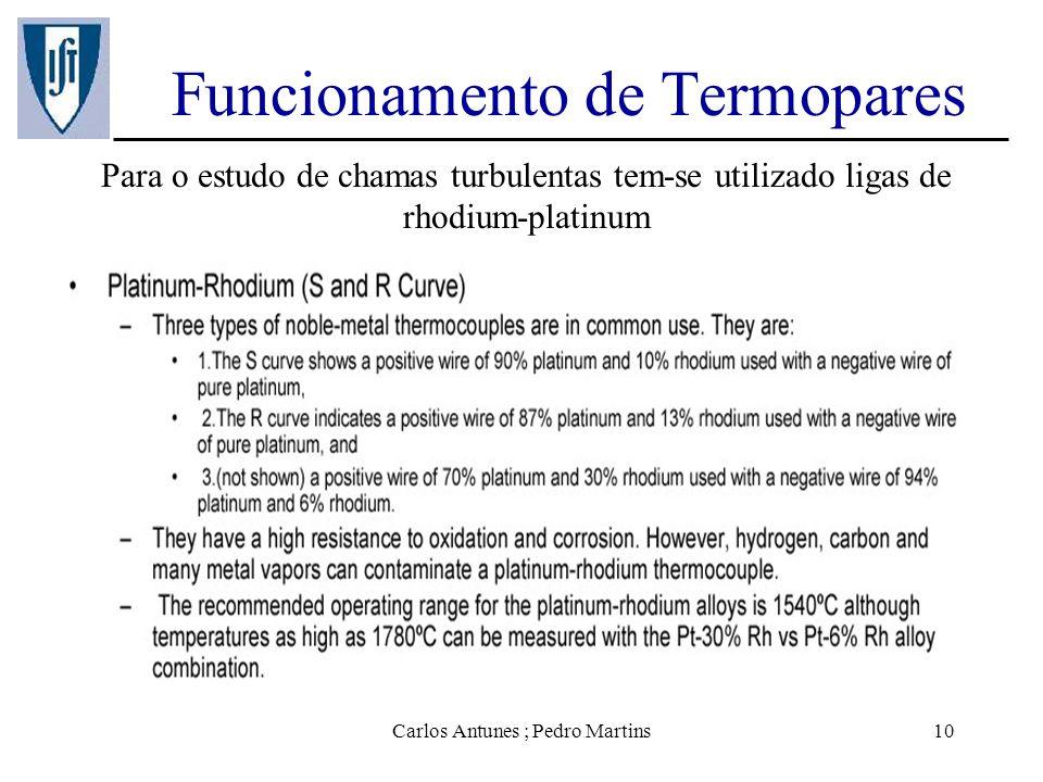 Carlos Antunes ; Pedro Martins10 Funcionamento de Termopares Para o estudo de chamas turbulentas tem-se utilizado ligas de rhodium-platinum