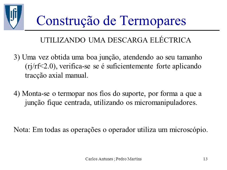 Carlos Antunes ; Pedro Martins13 Construção de Termopares UTILIZANDO UMA DESCARGA ELÉCTRICA 3) Uma vez obtida uma boa junção, atendendo ao seu tamanho