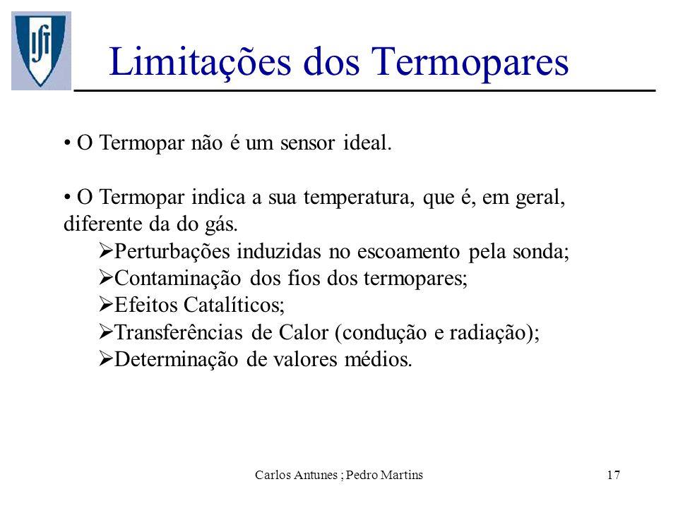 Carlos Antunes ; Pedro Martins17 Limitações dos Termopares O Termopar não é um sensor ideal. O Termopar indica a sua temperatura, que é, em geral, dif