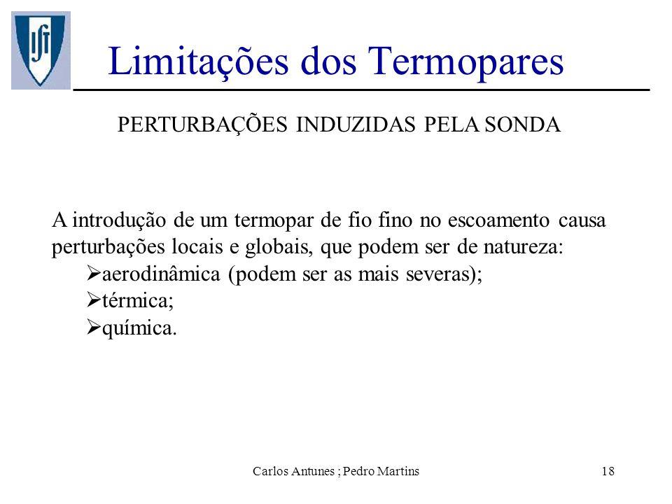 Carlos Antunes ; Pedro Martins18 Limitações dos Termopares PERTURBAÇÕES INDUZIDAS PELA SONDA A introdução de um termopar de fio fino no escoamento cau