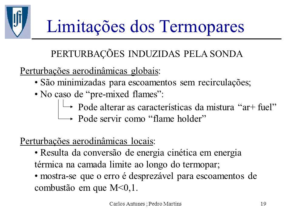 Carlos Antunes ; Pedro Martins19 Limitações dos Termopares PERTURBAÇÕES INDUZIDAS PELA SONDA Perturbações aerodinâmicas globais: São minimizadas para