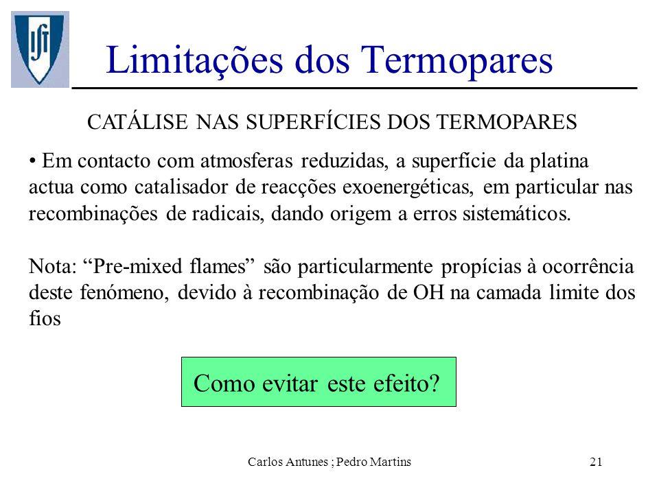 Carlos Antunes ; Pedro Martins21 Limitações dos Termopares CATÁLISE NAS SUPERFÍCIES DOS TERMOPARES Em contacto com atmosferas reduzidas, a superfície