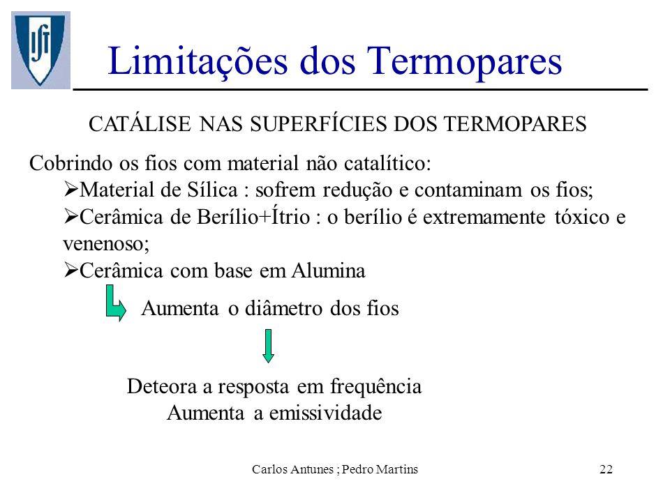 Carlos Antunes ; Pedro Martins22 Limitações dos Termopares CATÁLISE NAS SUPERFÍCIES DOS TERMOPARES Cobrindo os fios com material não catalítico: Mater