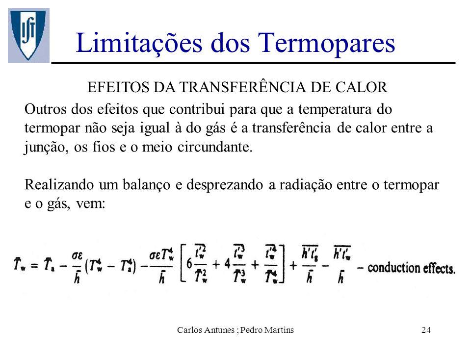 Carlos Antunes ; Pedro Martins24 Limitações dos Termopares EFEITOS DA TRANSFERÊNCIA DE CALOR Outros dos efeitos que contribui para que a temperatura d