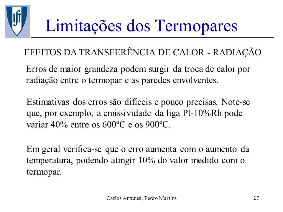 Carlos Antunes ; Pedro Martins27 Limitações dos Termopares EFEITOS DA TRANSFERÊNCIA DE CALOR - RADIAÇÃO Erros de maior grandeza podem surgir da troca