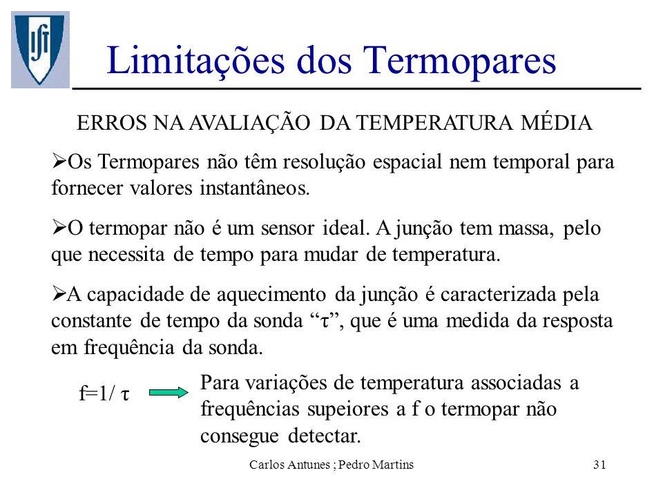 Carlos Antunes ; Pedro Martins31 Limitações dos Termopares ERROS NA AVALIAÇÃO DA TEMPERATURA MÉDIA Os Termopares não têm resolução espacial nem tempor