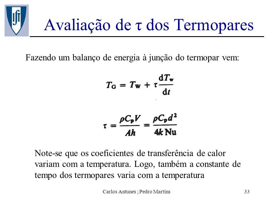 Carlos Antunes ; Pedro Martins33 Avaliação de τ dos Termopares Fazendo um balanço de energia à junção do termopar vem: Note-se que os coeficientes de