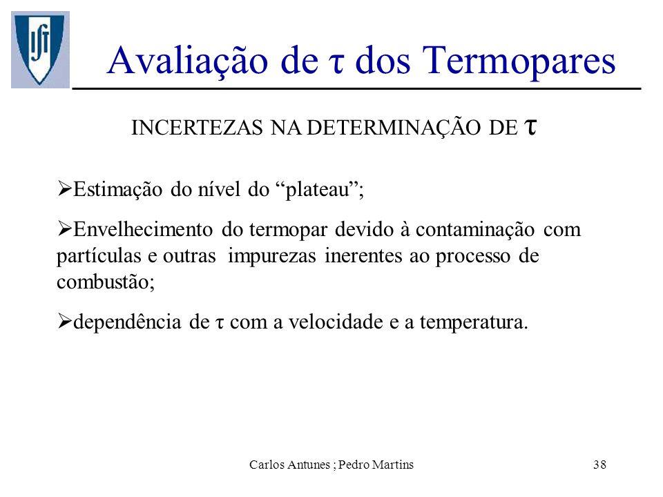 Carlos Antunes ; Pedro Martins38 Avaliação de τ dos Termopares INCERTEZAS NA DETERMINAÇÃO DE τ Estimação do nível do plateau; Envelhecimento do termop