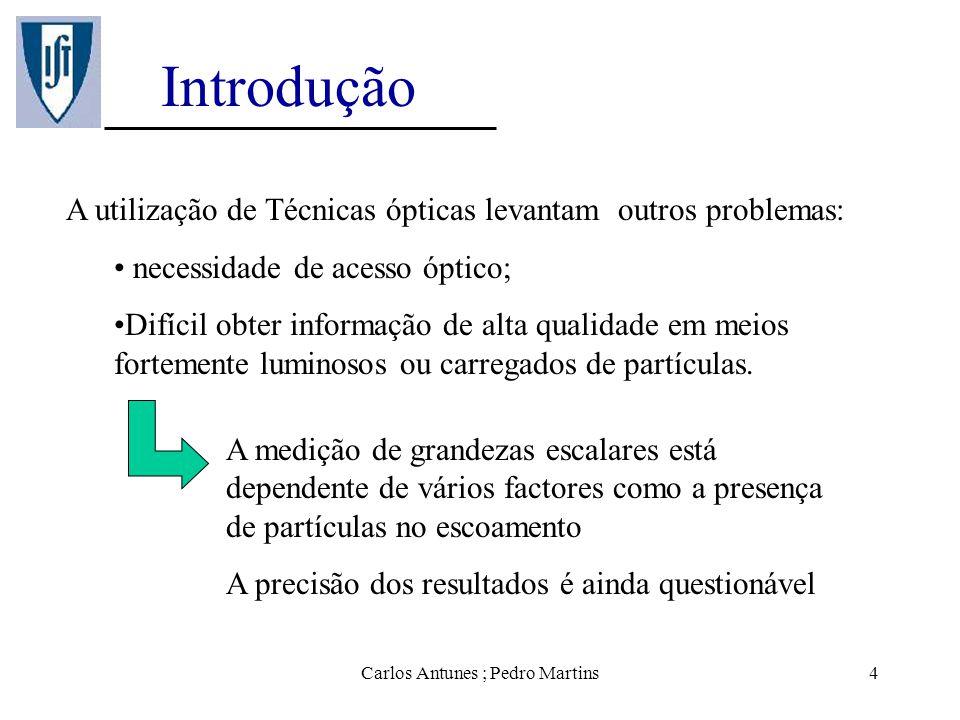 Carlos Antunes ; Pedro Martins4 Introdução A utilização de Técnicas ópticas levantam outros problemas: necessidade de acesso óptico; Difícil obter inf