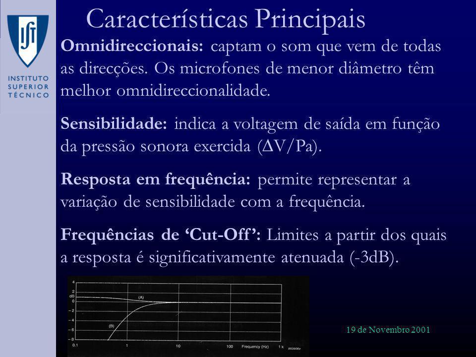 19 de Novembro 2001 Características Principais Omnidireccionais: captam o som que vem de todas as direcções. Os microfones de menor diâmetro têm melho
