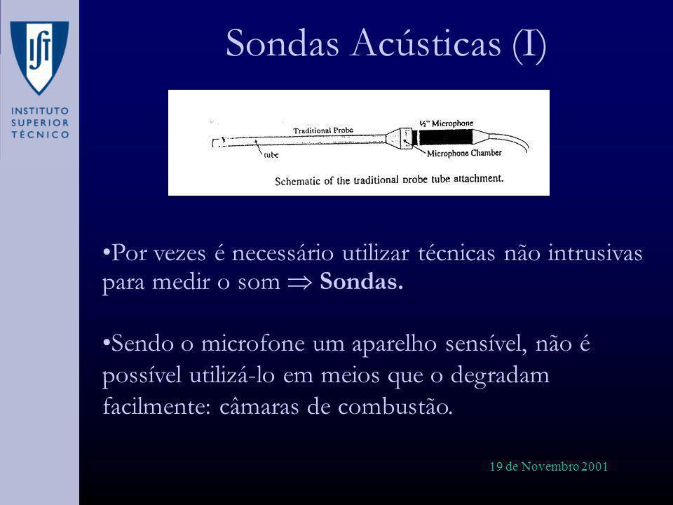 19 de Novembro 2001 Sondas Acústicas (I) Por vezes é necessário utilizar técnicas não intrusivas para medir o som Sondas. Sendo o microfone um aparelh