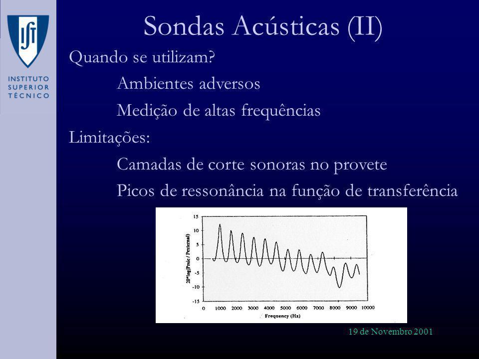 19 de Novembro 2001 Sondas Acústicas (II) Quando se utilizam? Ambientes adversos Medição de altas frequências Limitações: Camadas de corte sonoras no