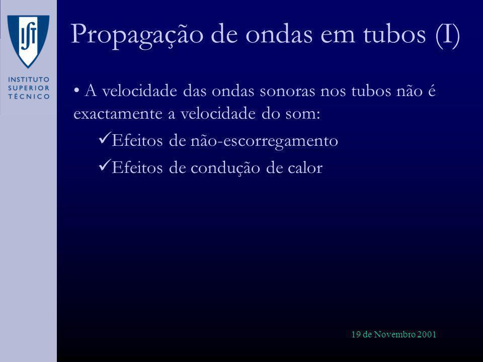 19 de Novembro 2001 Propagação de ondas em tubos (I) A velocidade das ondas sonoras nos tubos não é exactamente a velocidade do som: Efeitos de não-es