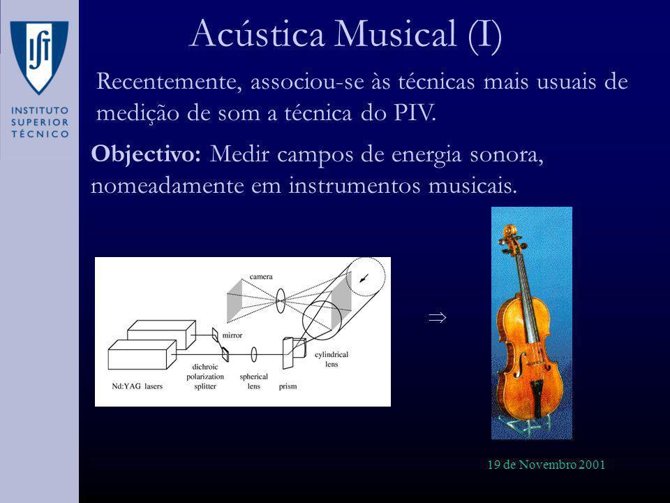 19 de Novembro 2001 Acústica Musical (I) Recentemente, associou-se às técnicas mais usuais de medição de som a técnica do PIV. Objectivo: Medir campos
