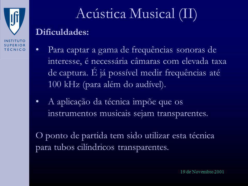 19 de Novembro 2001 Acústica Musical (II) Dificuldades: Para captar a gama de frequências sonoras de interesse, é necessária câmaras com elevada taxa