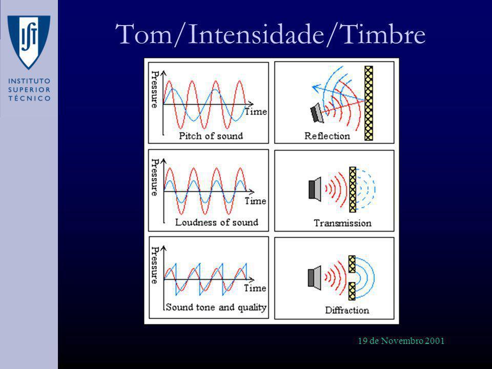 19 de Novembro 2001 Perturbação do Campo Sonoro (I) A presença intrusiva do microfone influencia o campo de pressões local (grandes dimensões quando comparadas com o da onda sonora), reforçando-o.