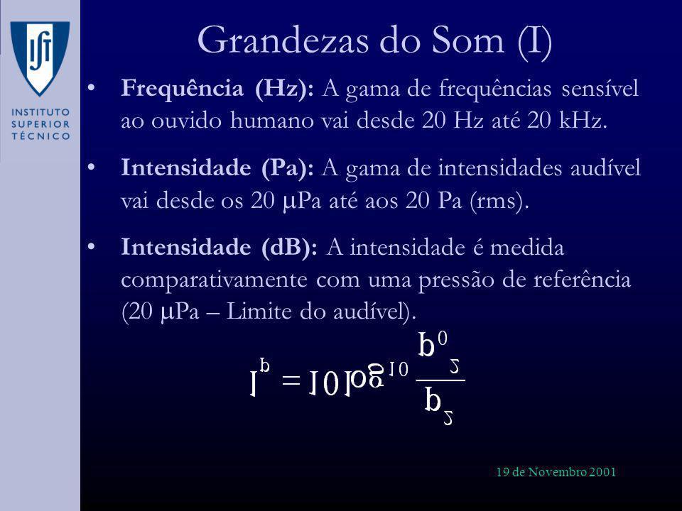19 de Novembro 2001 Grandezas do Som (I) Frequência (Hz): A gama de frequências sensível ao ouvido humano vai desde 20 Hz até 20 kHz. Intensidade (Pa)