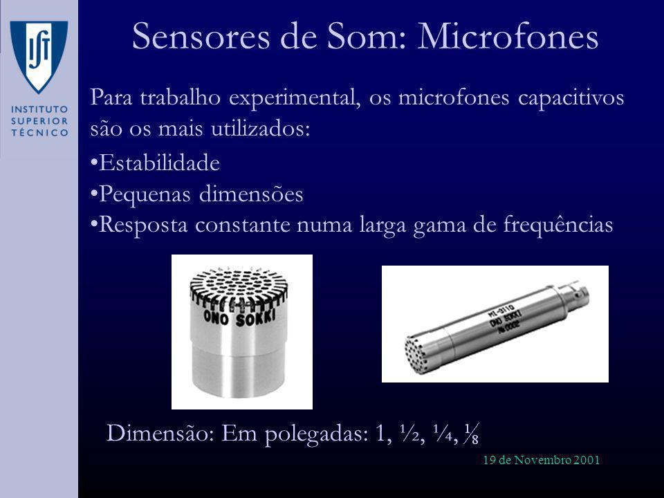 19 de Novembro 2001 Sensores de Som: Microfones Para trabalho experimental, os microfones capacitivos são os mais utilizados: Estabilidade Pequenas di