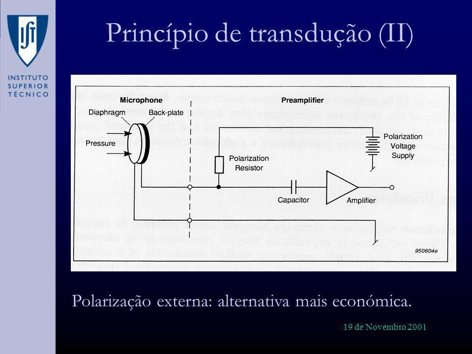 19 de Novembro 2001 Propagação de ondas em tubos (II) Existem várias soluções analíticas para propagação de ondas de som em gases contidos em tubos: »Helmholtz »Kirchhoff »Rayleigh Chegou-se à conclusão de que existem dois parâmetros que governam este fenómenos: »Número de corte de onda – »Frequência reduzida -