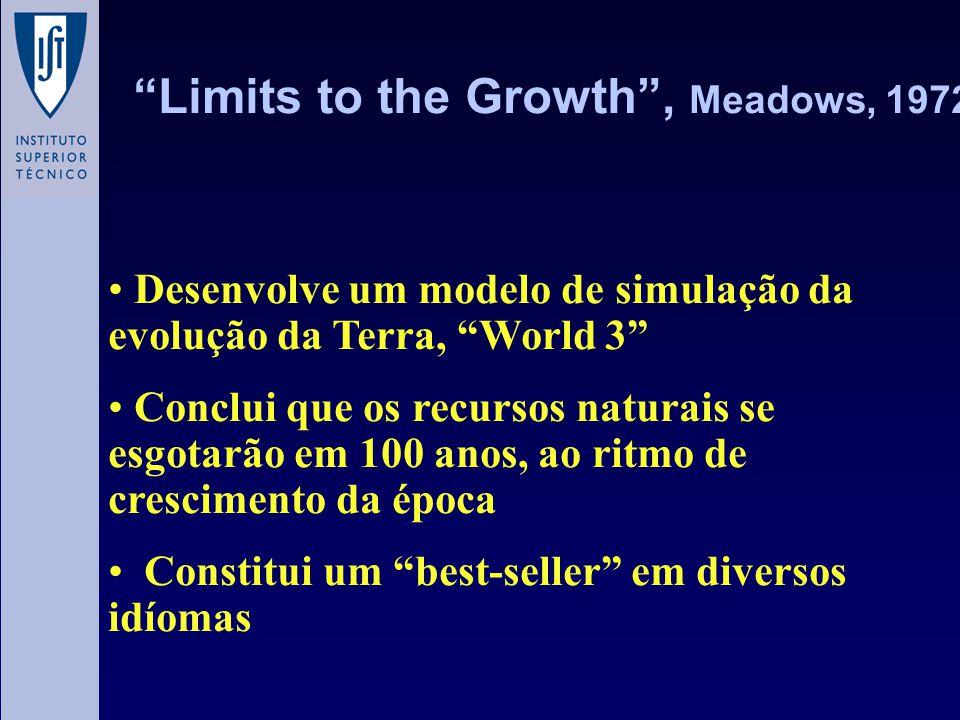Aperfeiçoa o modelo e adequa-o às previsões actuais de crescimento, verificando poucas diferenças em relação a 1972....mantendo os actuais fluxos massicos e energéticos, nas próximas décadas, verificar-se-á um declínio na produção per-capita de alimentos, na utilização de energia e na produção industrial...uma sociedade sustentável ainda é técnica e economicamente possível.