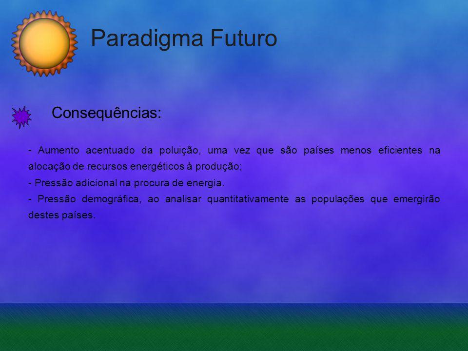 Paradigma Futuro Consequências: - Aumento acentuado da poluição, uma vez que são países menos eficientes na alocação de recursos energéticos à produçã