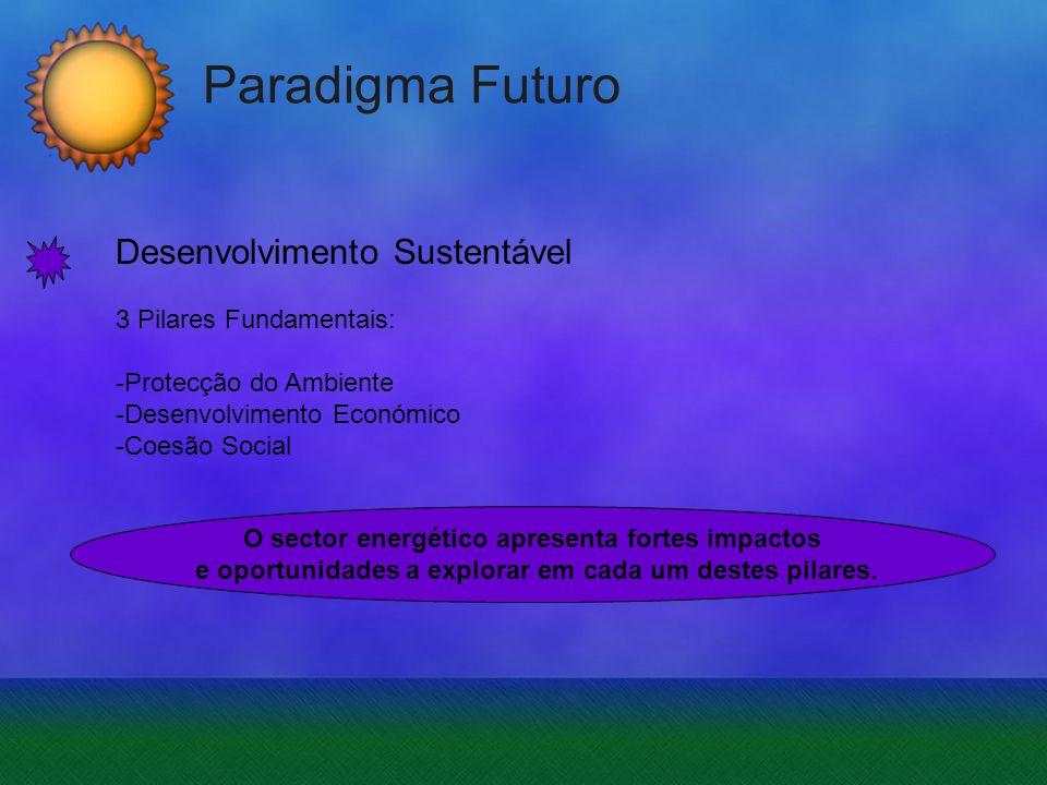 Paradigma Futuro Desenvolvimento Sustentável 3 Pilares Fundamentais: -Protecção do Ambiente -Desenvolvimento Económico -Coesão Social O sector energét