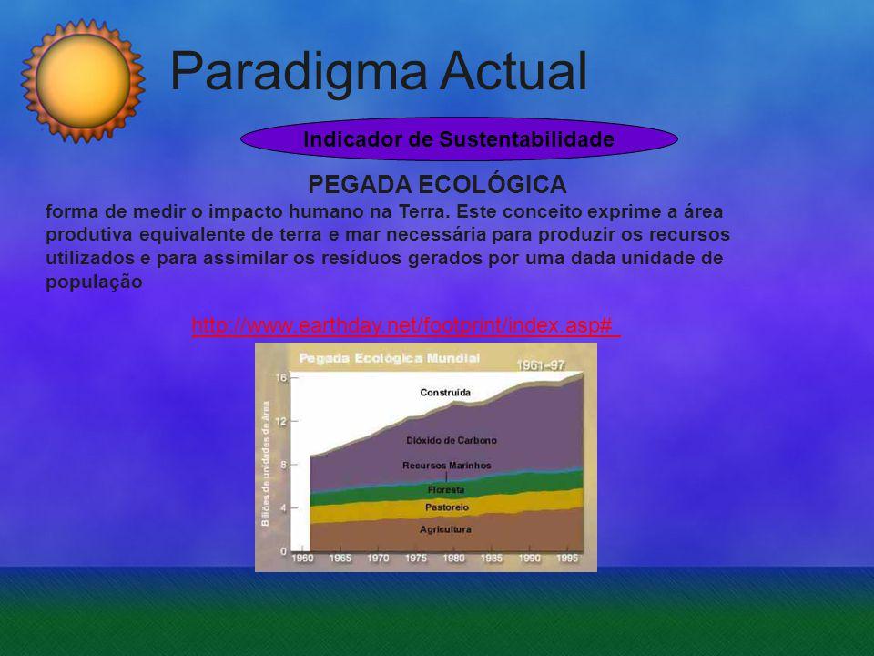 Paradigma Actual http://www.earthday.net/footprint/index.asp# PEGADA ECOLÓGICA forma de medir o impacto humano na Terra. Este conceito exprime a área