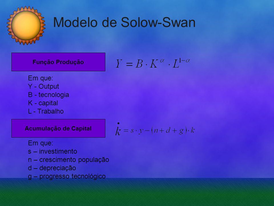 Modelo de Solow-Swan Economias caminham para o Steady-State A esquerda desse ponto (k 0 ) A rapidez do crescimento depende do capital inicial (k 1 ) À direita do mesmo entra-se numa situação de retorno decrescente do capital A variável que permite fazer incrementar os níveis do steady-state é progresso Tecnológico Desenvolvimento Económico Sustentado: Situação em que as variáveis (dependentes e independentes) do modelo estão a crescer a taxas constantes Observações ao Modelo