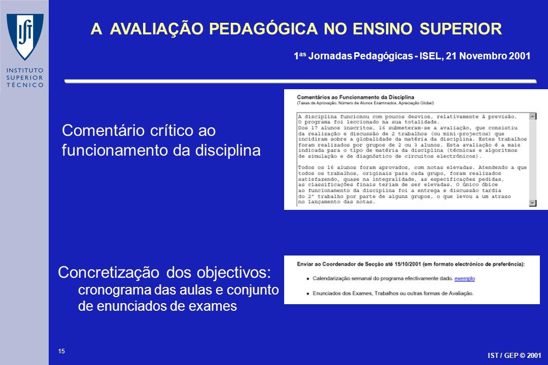 15 A AVALIAÇÃO PEDAGÓGICA NO ENSINO SUPERIOR 1 as Jornadas Pedagógicas - ISEL, 21 Novembro 2001 IST / GEP © 2001 Comentário crítico ao funcionamento d
