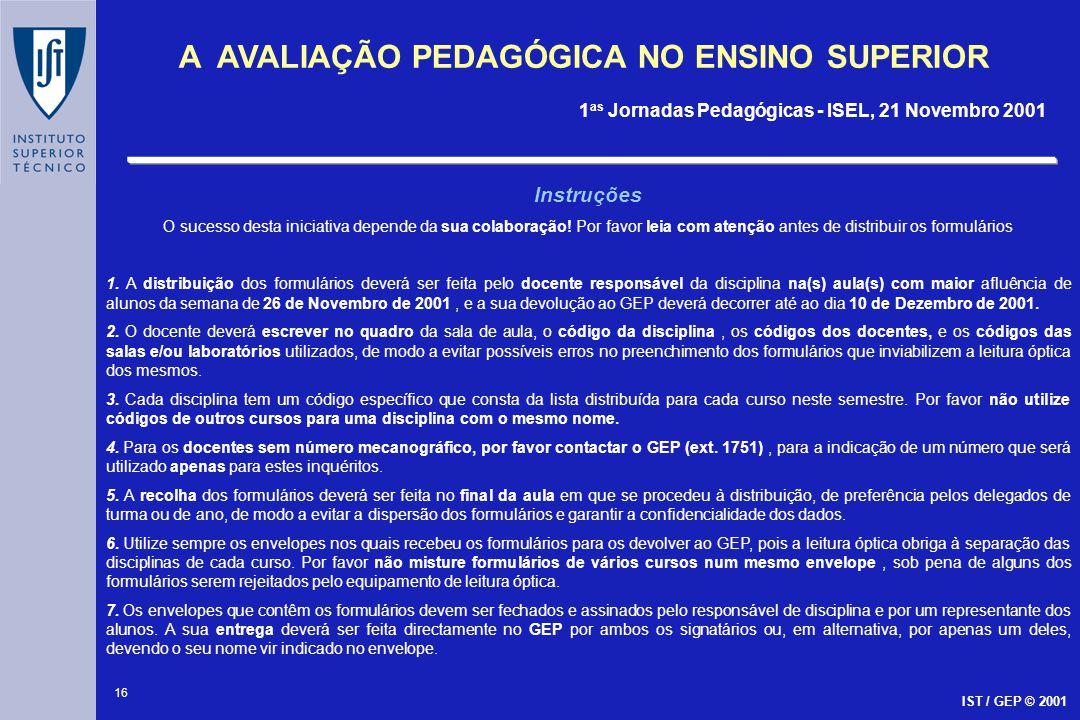 16 A AVALIAÇÃO PEDAGÓGICA NO ENSINO SUPERIOR 1 as Jornadas Pedagógicas - ISEL, 21 Novembro 2001 IST / GEP © 2001 Instruções O sucesso desta iniciativa