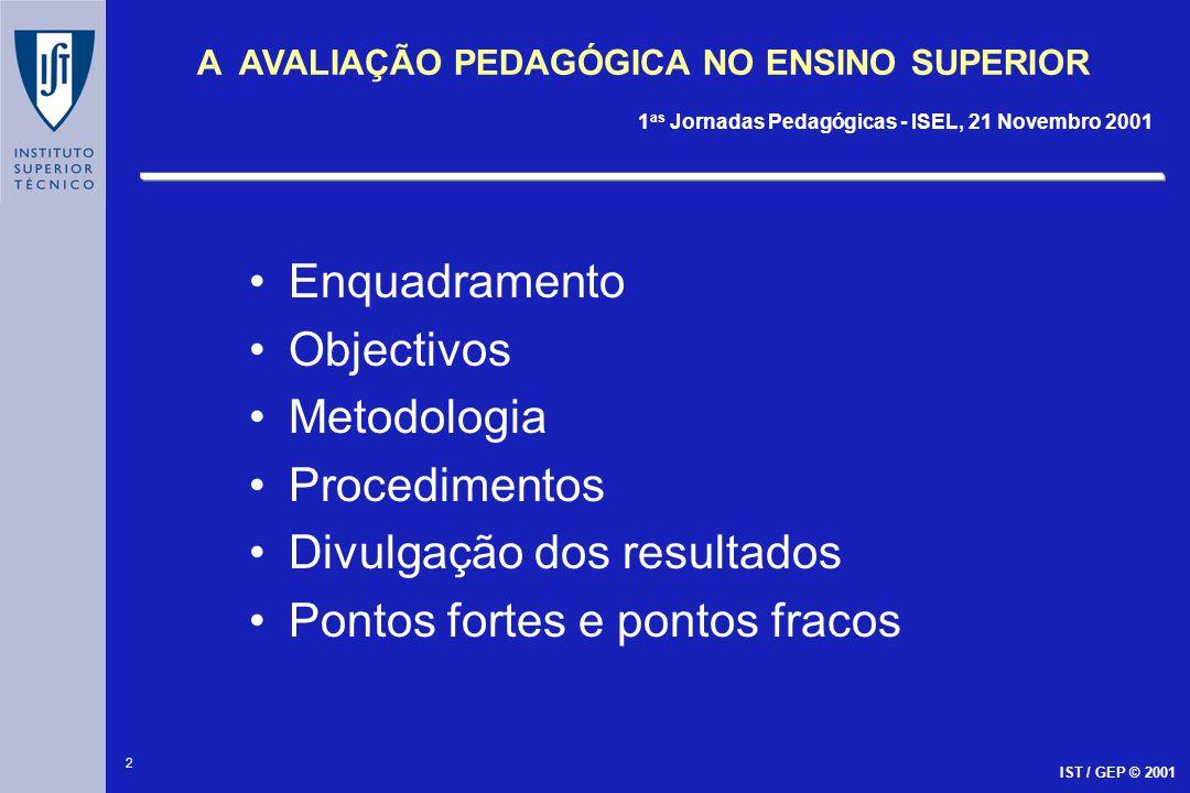 2 A AVALIAÇÃO PEDAGÓGICA NO ENSINO SUPERIOR 1 as Jornadas Pedagógicas - ISEL, 21 Novembro 2001 IST / GEP © 2001 Enquadramento Objectivos Metodologia P