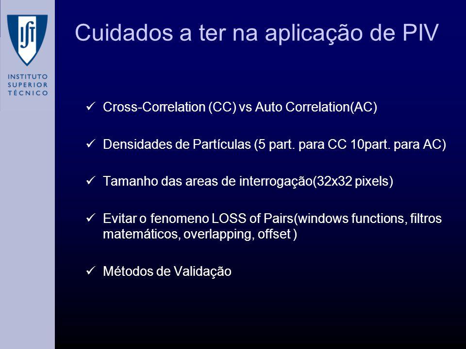 Cuidados a ter na aplicação de PIV Cross-Correlation (CC) vs Auto Correlation(AC) Densidades de Partículas (5 part. para CC 10part. para AC) Tamanho d
