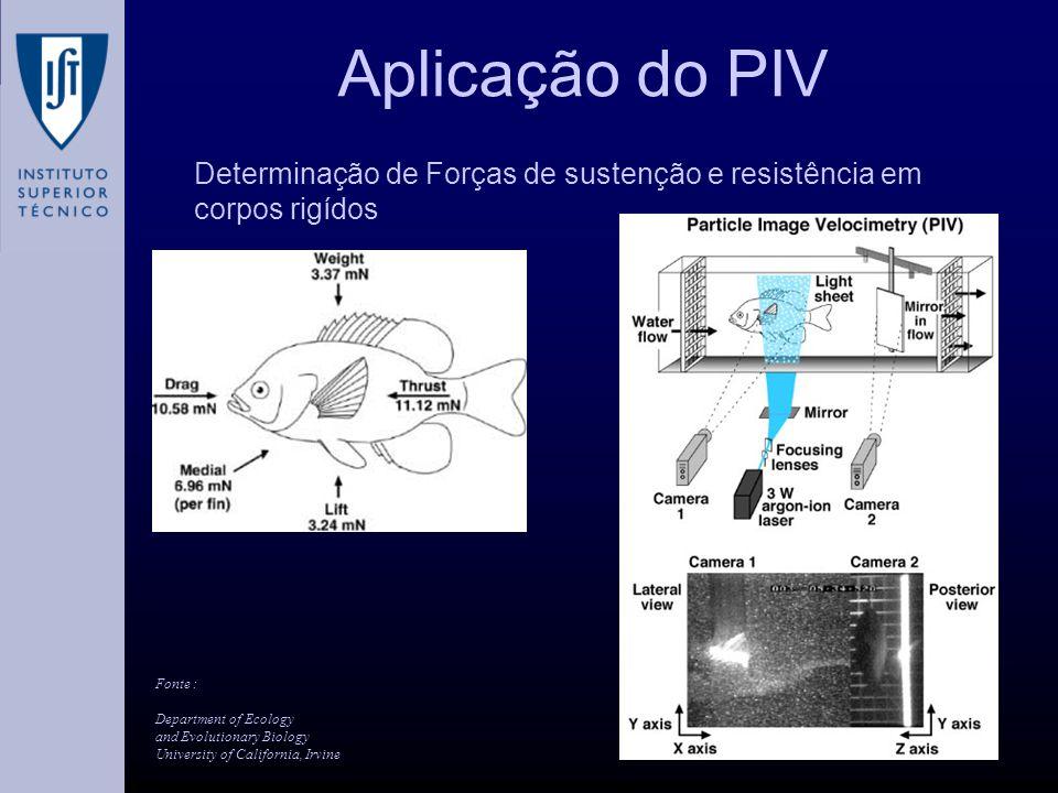 Aplicação do PIV Determinação de Forças de sustenção e resistência em corpos rigídos Fonte : Department of Ecology and Evolutionary Biology University