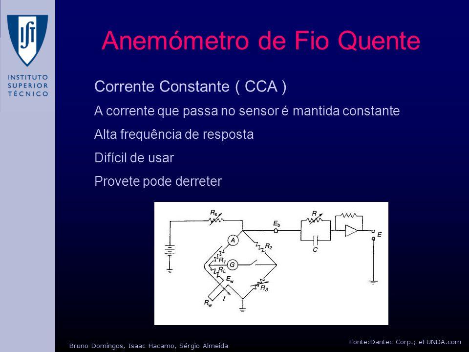 Fonte:Dantec Corp.; eFUNDA.com Bruno Domingos, Isaac Hacamo, Sérgio Almeida Anemómetro de Fio Quente Corrente Constante ( CTA ) A Temperatura no sensor é mantida constante através da resistência deste.
