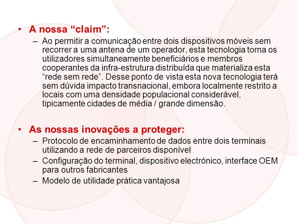 A nossa claim: –Ao permitir a comunicação entre dois dispositivos móveis sem recorrer a uma antena de um operador, esta tecnologia torna os utilizador