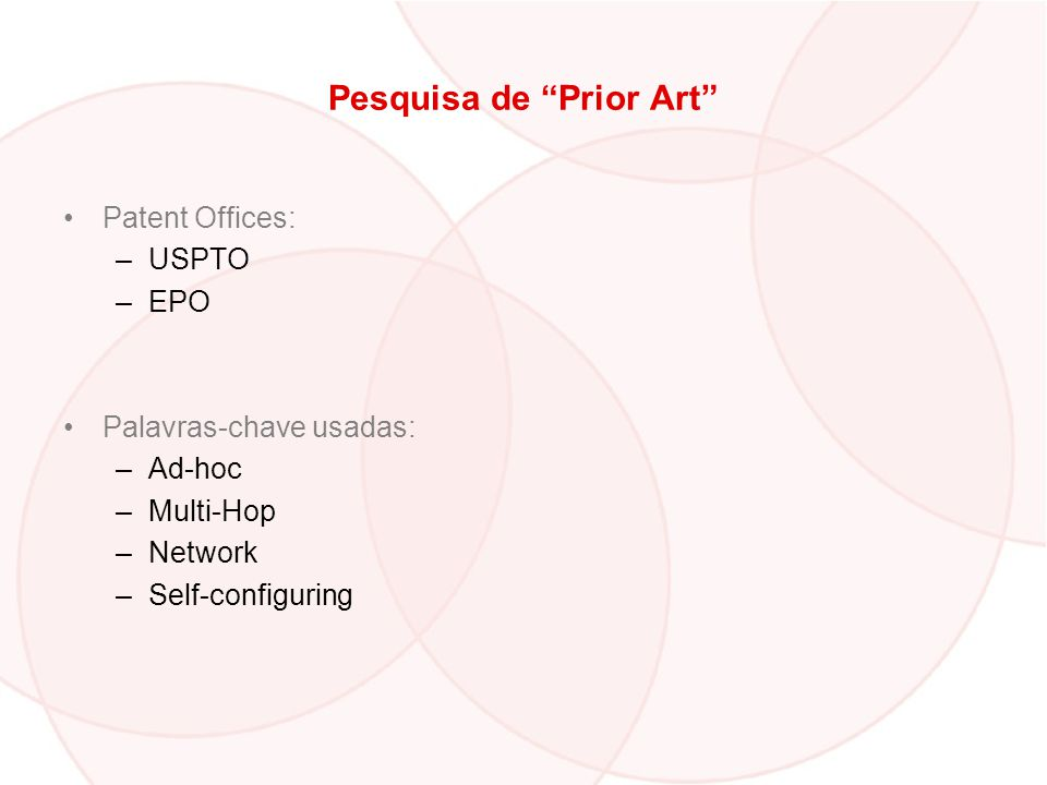 Pesquisa de Prior Art Patent Offices: –USPTO –EPO Palavras-chave usadas: –Ad-hoc –Multi-Hop –Network –Self-configuring
