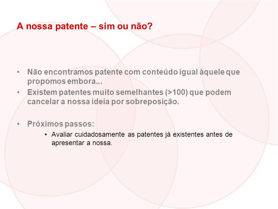 A nossa patente – sim ou não? Não encontramos patente com conteúdo igual àquele que propomos embora... Existem patentes muito semelhantes (>100) que p