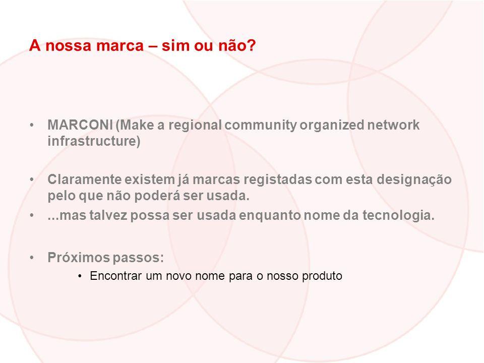 A nossa marca – sim ou não? MARCONI (Make a regional community organized network infrastructure) Claramente existem já marcas registadas com esta desi