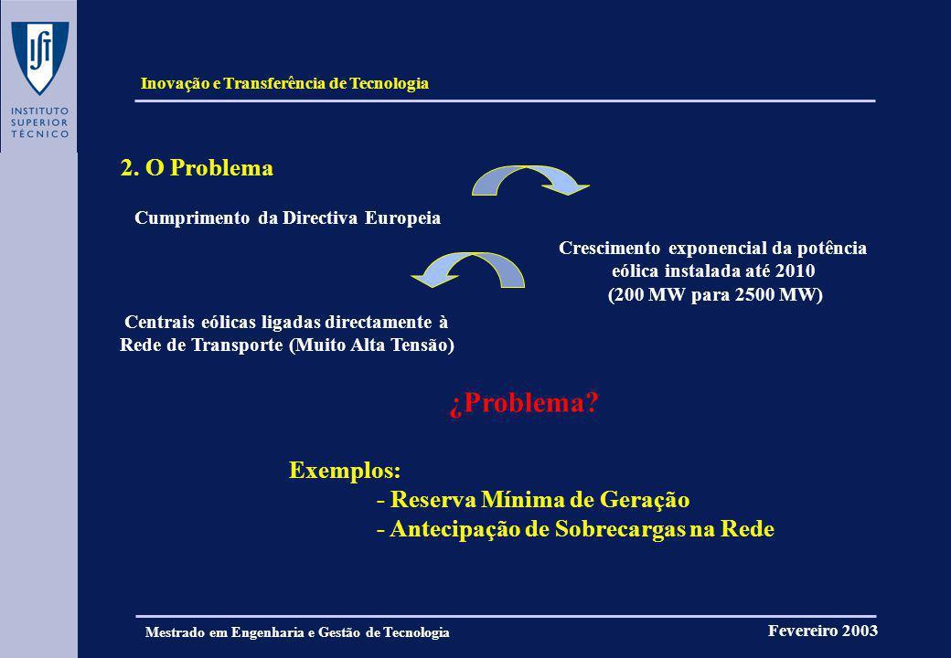 Inovação e Transferência de Tecnologia Fevereiro 2003 Mestrado em Engenharia e Gestão de Tecnologia 2. O Problema Cumprimento da Directiva Europeia Cr
