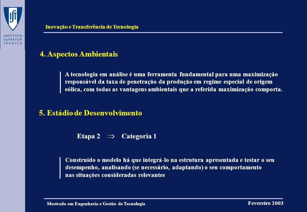 Inovação e Transferência de Tecnologia Fevereiro 2003 Mestrado em Engenharia e Gestão de Tecnologia FIM