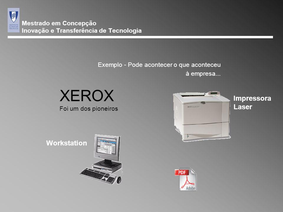 Mestrado em Concepção Inovação e Transferência de Tecnologia Exemplo - Pode acontecer o que aconteceu à empresa... XEROX Foi um dos pioneiros Impresso