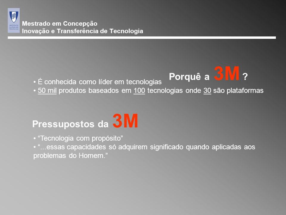 Mestrado em Concepção Inovação e Transferência de Tecnologia 3M Pressupostos da É conhecida como líder em tecnologias 50 mil produtos baseados em 100 tecnologias onde 30 são plataformas 3M Porquê a.