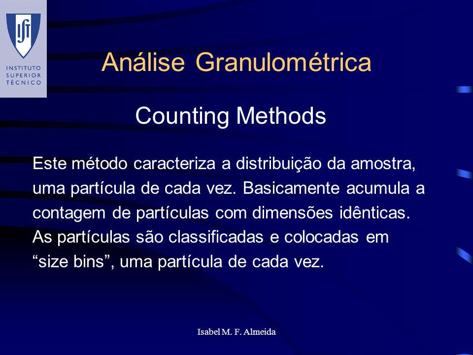 Isabel M. F. Almeida Análise Granulométrica Este método caracteriza a distribuição da amostra, uma partícula de cada vez. Basicamente acumula a contag